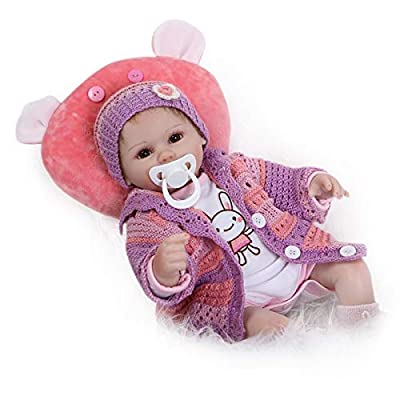 Nicery Reborn Baby Doll Soft Simulation Silicone Vinyl Cloth Body 18inch 45cm Magnetic Mouth Lifelike Vivid Boy Girl Toy for Ages 3+ Red Pillow Eyes Open 45C021O: Toys & Games