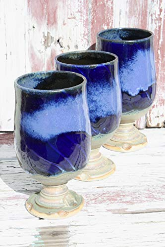One Wheel Thrown Blue Wine Glass, Batch #06, Tulip Style Beer Glasses, Ceramic Wine Chalices, Handmade Wine Goblets from Wildfire Clay