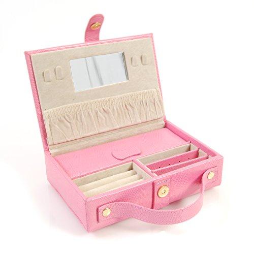 Budd Leather Lizard Print Calf Travel Jewel Box, Pink