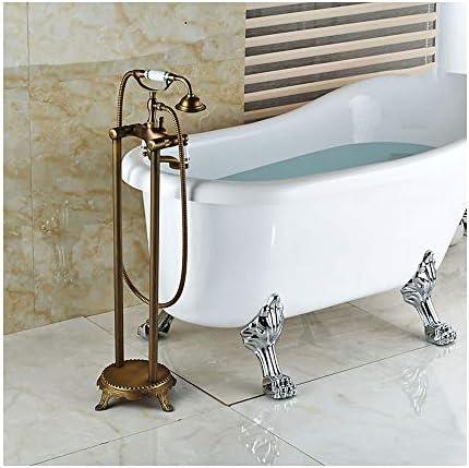アンティーク自立バスタブ真鍮床取り付け滝浴槽フィラーセット多機能デュアルハンドル浴室シャワーミキサータップ電話タイプハンドヘルドシャワー