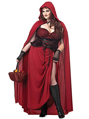 California Costumes Women's Plus-Size Dark Red Riding Hood Plus, Red, 3X -