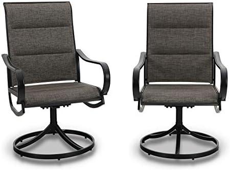 PHI VILLA Patio Swivel Dining Chair Set of 2