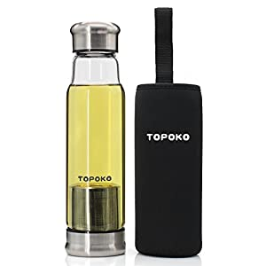 TOPOKO Handmade 18.5 Oz Glass Water Bottle-Extra Strong Crystal Glass Bottle Tea Cup With Tea infuser Tea Strainer Tea Bottle No Lead Bpa Free + Colorful Handle Nylon Sleeve-Black