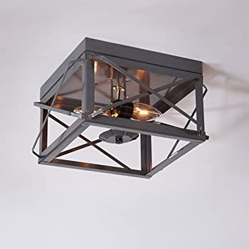 Double Ceiling Light with Folded Bars in Cntry Tin
