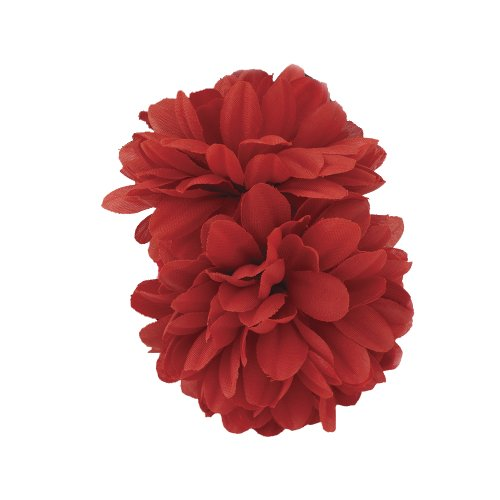 Girls 2 Piece Flower Ponio Set. Silky Flowers Set on Endless Ponio Bands. (Red)