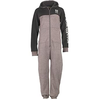 20b437fac Mens Crosshatch Zodis Onesie Mid Grey Marl Black Guys Gents (M To ...