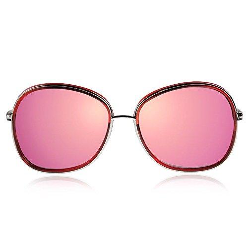 Ovalado Pink de Redondo anteojos Plata Mujer Gafas Sunglasses polarizadas TL de Sol 6c0Pw4Rxq