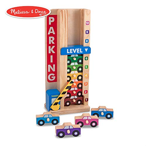 Melissa & Doug Stack & Count Wooden Parking Garage With 10 Cars ()