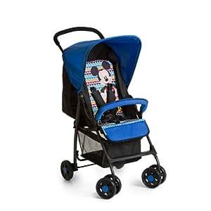 Hauck Sport - Silla de paseo ligera y practica para bebes de 0 meses hasta 15 kg, sistema de arnés de 5 puntos, respaldo reclinable, plegable, diseño Mickey Geo, color azul