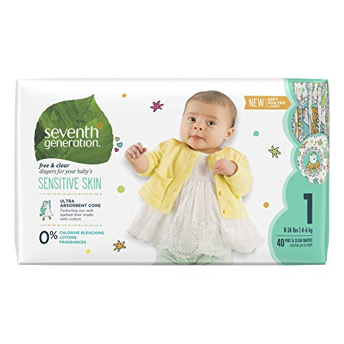 Seventh Generation Baby Diapers for Sensitive Skin, Animal Prints, Size 1, 40 count (Packaging May Vary) (7th Generation Size 1)