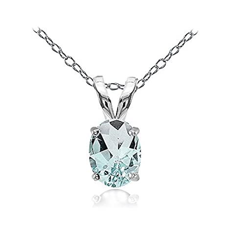 Sterling Silver Aquamarine 8x6mm Oval Solitaire Necklace
