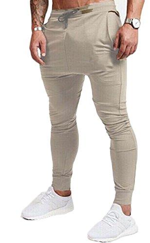 USGreatgorgeous Men's Fitted Shorts Bodybuilding Workout Gym Running Jogger Pants (M, Khaki)