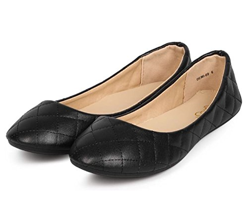 Refresh DEMI-09 Womens Patent Leatherette Ballerina Ballet Slip On Flats Black Color Size 7.5