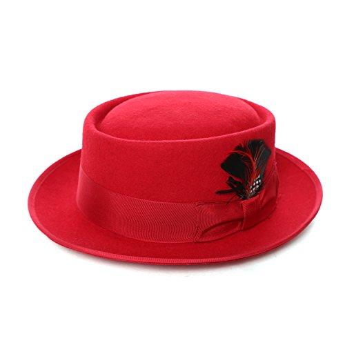 M - Ferrecci Premium Red Wool PORK PIE - Pork Pie Bad Breaking Hat