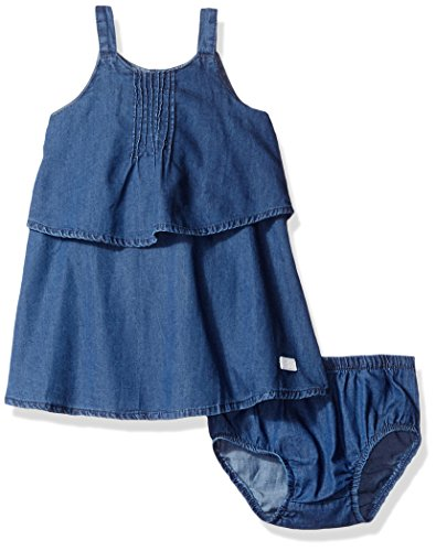 7 For All Mankind Baby Girls' Pintuck Dress, Dark Wash 0-3M