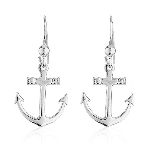 925 Sterling Silver Anchor Marine Ocean Sea Life Inspired Short Dangle Earrings