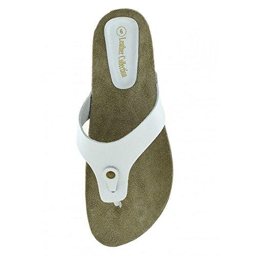 Kick Footwear Womens Fashion Summer Beach Flip Flops Sandals Natural Leather Shoes White wWokFz