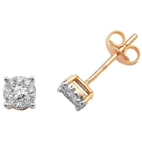 Boucles d'oreilles diamant brillant Element 9 carats H I1 20D 0,20 ct