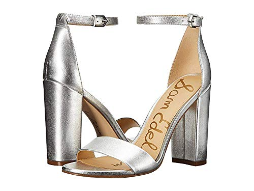 Cushioned Leather Insole - Sam Edelman Women's Yaro Ankle Strap Sandal Heel Silver 13 M US