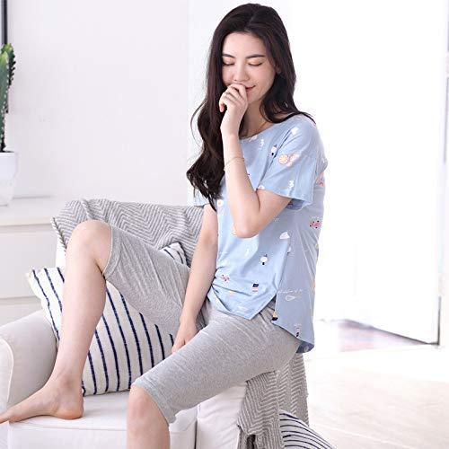FERFERFERWON Nachthemd Sommer kurzärmelige fünf Hosen Baumwolle kann außerhalb des Mädchens Cartoon Pyjamas lässig Komfort XL Home-Service getragen Werden (Farbe  Blau, Größe  XXL)