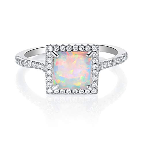 White Fire Opal Wide Band - Fire Opal Wedding Ring Band Princess-cut White Gold Plated Halo CZ for Women (5)