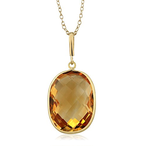 Gem Stone King 9.00ct Citrine Cushion Cut 14K Yellow Gold Pendant w/ 18inches - Pendant Gold 9k