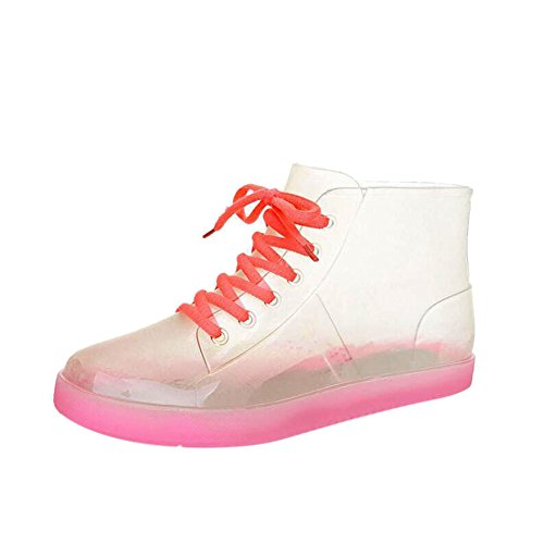 Meijunter Womens Non-slip Transparent Lace-Up Rainboots Ladies Waterproof Rubber Ankle Boots Rain Boots Water Shoes Pink