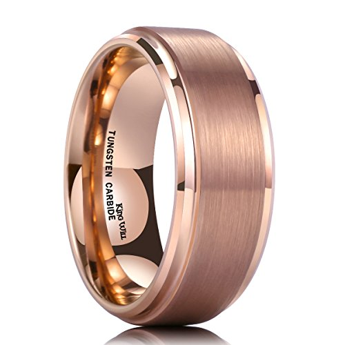 - King Will Glory 8mm Rose Gold Plated Tungsten Carbide Ring Wedding Band Matte Finish Comfort Fit 9