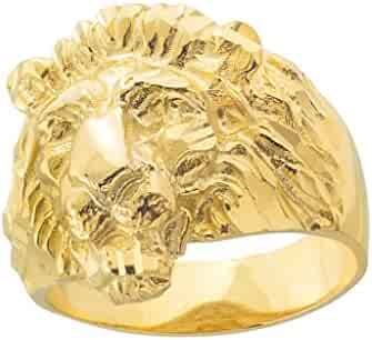 Fine 10k Yellow Gold Textured Band Lion Head Ring for Men