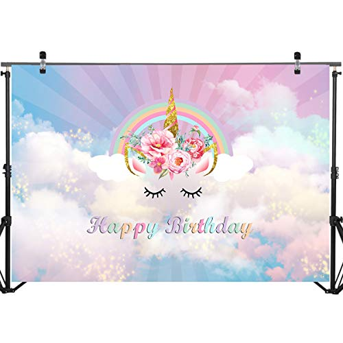 Mocsicka Happy Birthday Backdrop 7x5ft Vinyl Unicorn for sale  Delivered anywhere in USA