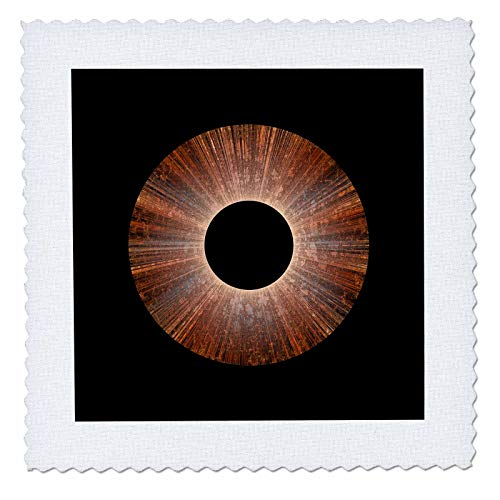 - 3dRose Andrea Haase Art Illustration - Abstract Radial Copper Colored Object On Black - 22x22 inch Quilt Square (qs_289332_9)