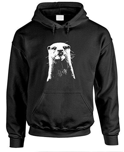 OTTER HEAD hipster cute animal nature funny – Mens Pullover Hoodie, XL, Black