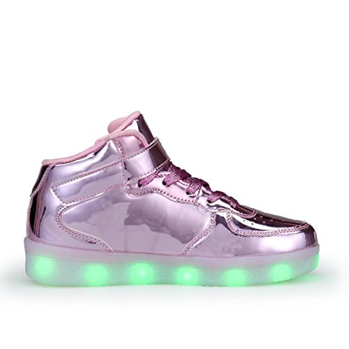 WONZOM FASHION High Top Velcro LED Light Up Shoes 7 Colors USB Flashing Rechargeable Walking Sneakers For Kids Boots With Remote Control(Toddler/Little Kids/Big Kids)-34(Shining Pink) by WONZOM FASHION (Image #4)