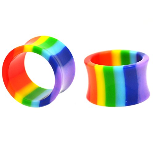 (Pair (2) Hollow Rainbow Stripes Ear Plugs Lightweight Acrylic Double Flared Tunnels - 9/16