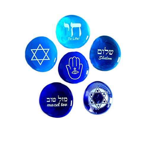 Judaica Glass Stones: Chai, Star of David, Hamsa, Mazel Tov and Shalom on Shades of Blue, Set of Six, by Lifeforce Glass
