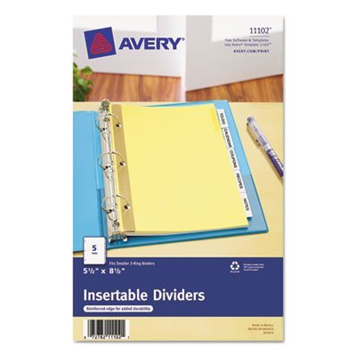 WorkSaver Insertable Tab Index Dividers, 5-Tab, 8-1/2 x 5-1/2, Clear, 1/Set, Total 36 ST, Sold as 1 Carton by Avery
