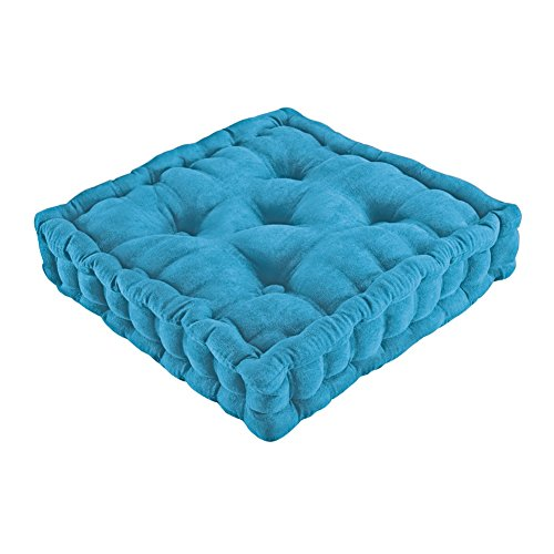 Tufted Padded Boosted Cushion and Support - Plush Seating for Chair with Carrying Handle, Blue