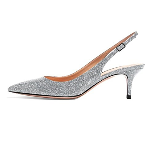 Sammitop Women's Pointed Toe Patent Pumps Kitten Heel Glitter Silver Slingback Shoes US10.5
