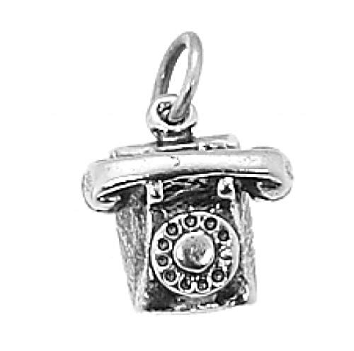 Sterling Silver Rotary DIAL Style Telephone Charm/Pendant Jewelry Making Supply Pendant Bracelet DIY Crafting by Wholesale Charms ()