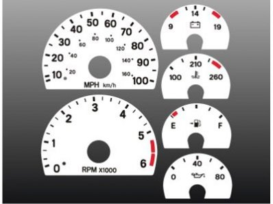 Jeep Wrangler Dash Overlay - 1997-2000 Jeep Wrangler White Face Gauges 97-00 TJ
