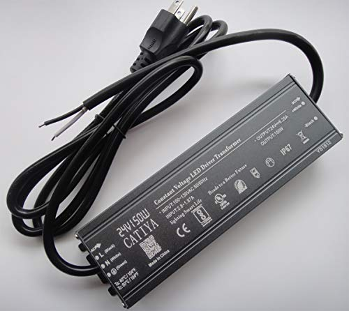 CATIYA 24V 150W LED Driver Transformer, IP67 Waterproof Constant Voltage Power Supply for Spotlights