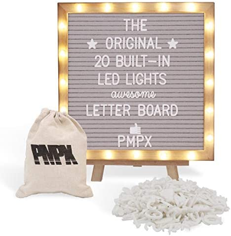 Black Felt Letter Board With Stand Built In Led Lights 10 X 10 Menu Board Wood Frame 340 Letters And Emojis For Custom Sign Messages Menus Pregnancy Announcement Weddings Party Planning