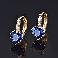 Phetmanee Shop HUCHE Classic Vintage Heart Ocean Blue Sapphire Gold Filled Women Party Earrings