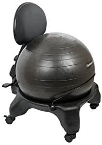 """Isokinetics Inc. Adjustable Back Exercise Ball Office Chair - Standard Frame Height - with Black 52cm Ball - Office size 60mm/2.5"""" wheels - w/Starter Pump and Ball Measuring Tape"""