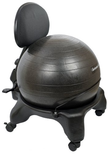 "Isokinetics Inc. Adjustable Back Exercise Ball Office Chair - Standard Frame Height - with Black 52cm Ball - Office size 60mm/2.5"" wheels - w/Starter Pump and Ball Measuring Tape"