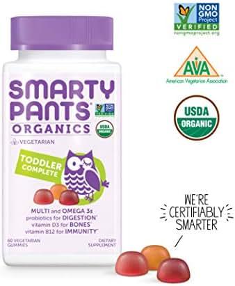 SmartyPants Organic Toddler Formula Daily Gummy Vitamins: Vitamin D3, Vitamin B12, Gluten Free, Zinc, Methylfolate, Omega-3, Methylcobalamin, Vegetarian, Non-GMO, 60 Count (30 Day Supply)