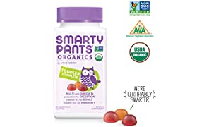 SmartyPants Vegetarian Organic Toddler Daily Gummy Vitamins: Multivitamins, Gluten Free, Non-GMO, Omega-3, Probiotic,* Vitamin D3, Methylcobalamin Vitamin B12, Zinc, 60 Count (30 Day Supply)