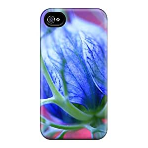 High-end Case Cover Protector For Iphone 4/4s(blue Flowers Thorns)