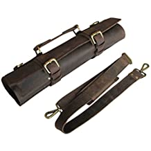 One Leaf - Rugged Leather Knife Bag for Chefs - Tuareg (Brass Color Hardware)