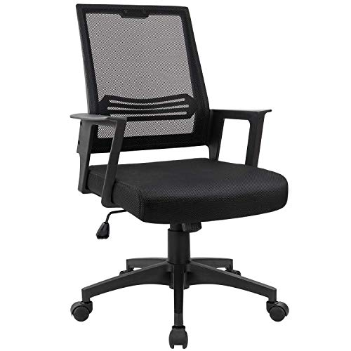 Smugdesk Mid-Back Big Ergonomic Office Lumbar Support Mesh Computer Desk Task Chair with Armrests - Mesh Top Table